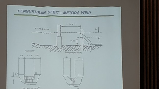 Debit measurement by using weir method