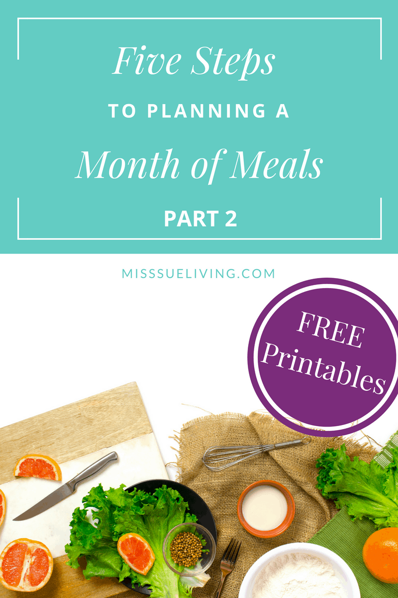 Plan a Month of Meals Part 2 with free printables