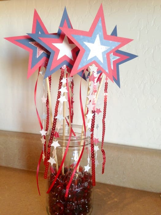 DIY Patriotic Star Wands mason jar