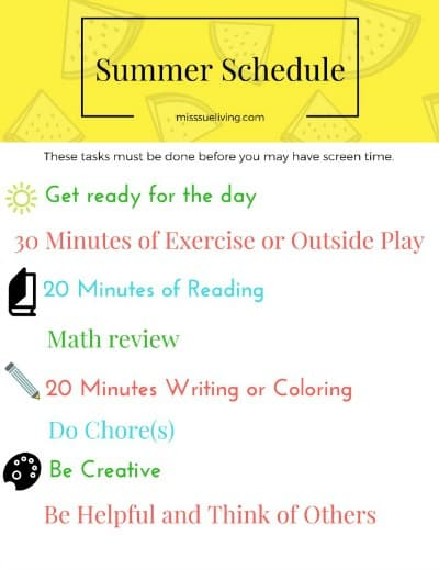 A Summer Schedule to help reduce screen time and keep kids active!