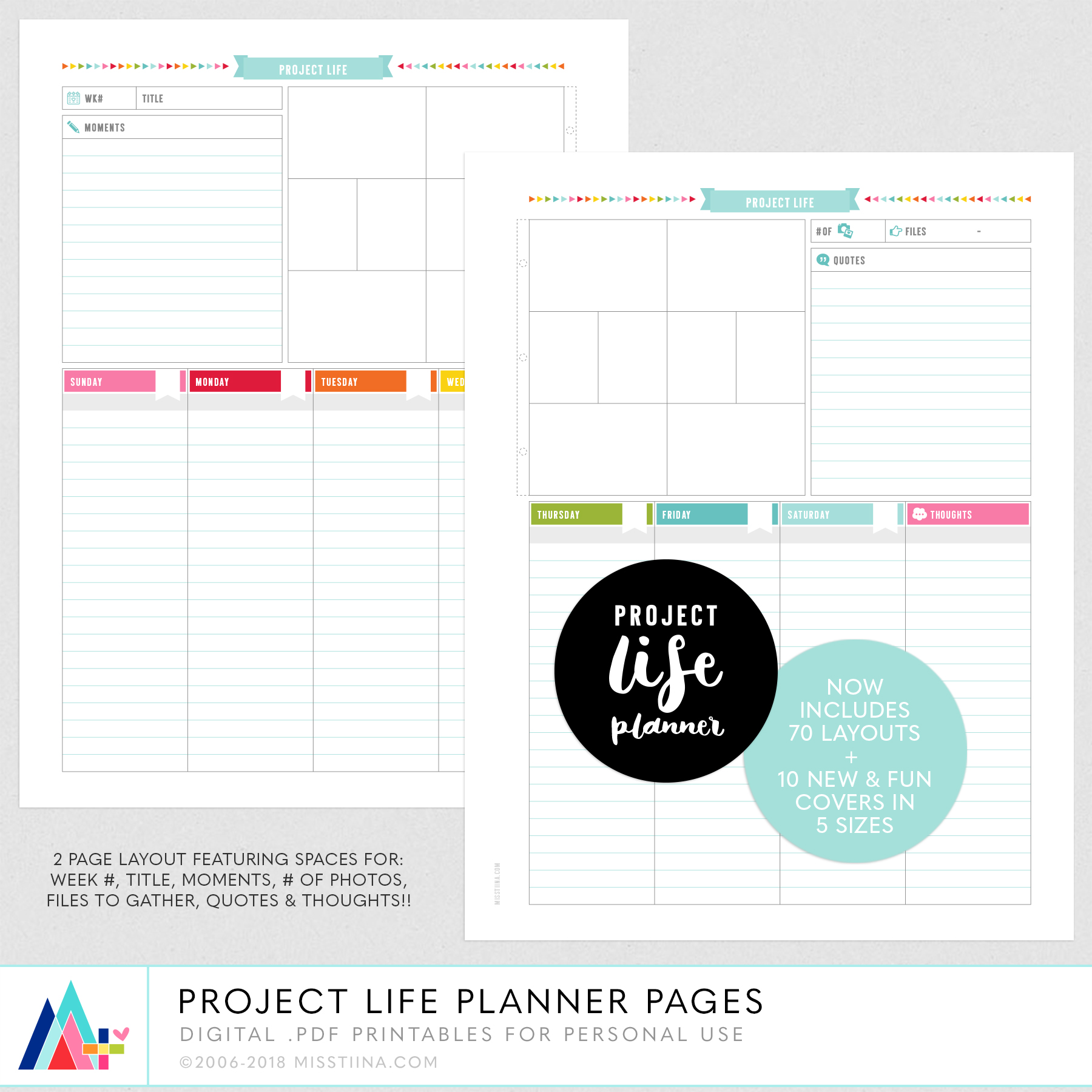 project life layout planner pages