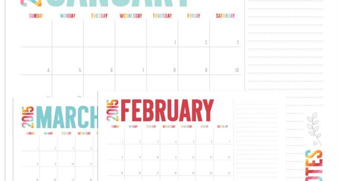 Colorful 2015 Calendar + FREE Printables