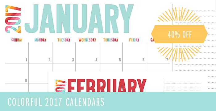 2017 Colorful Calendars + FREE Printables