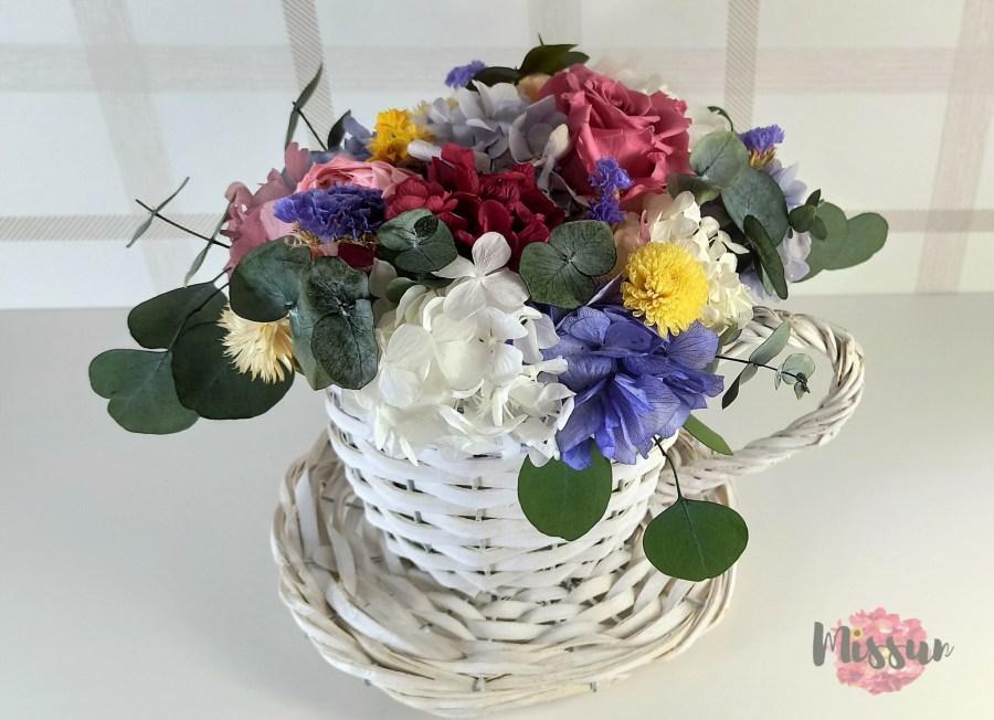 centro flor preservada tacita