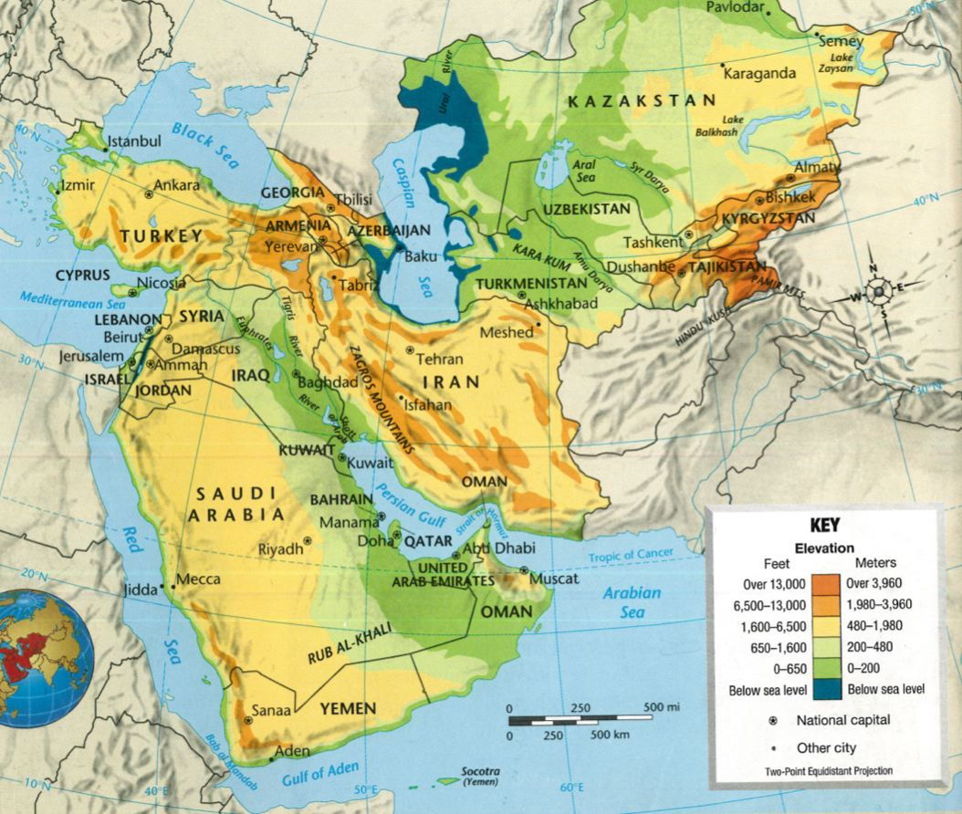 Southwest And Central Asia Physical Map