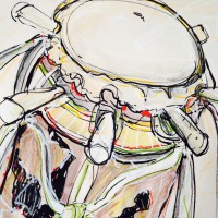 #Sabar #Drum ::mX:: >>7 Pegs<< mixed media on paper