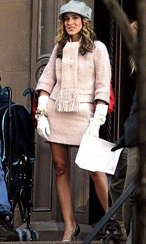 Carrie Bradshaw pink Louis Vuitton suit