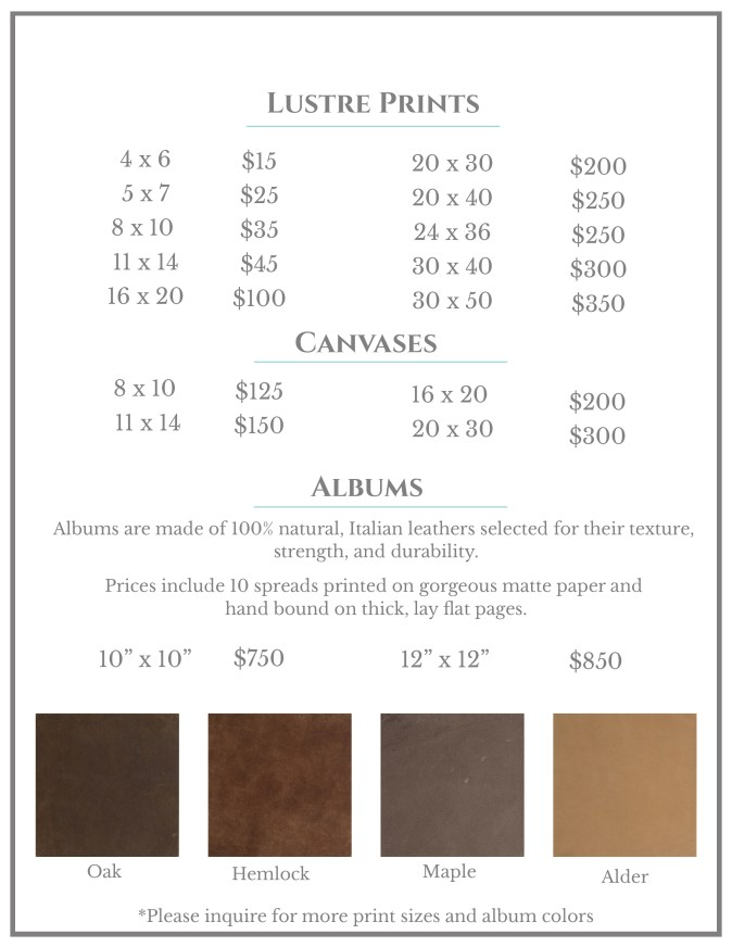 Print and Album Pricing