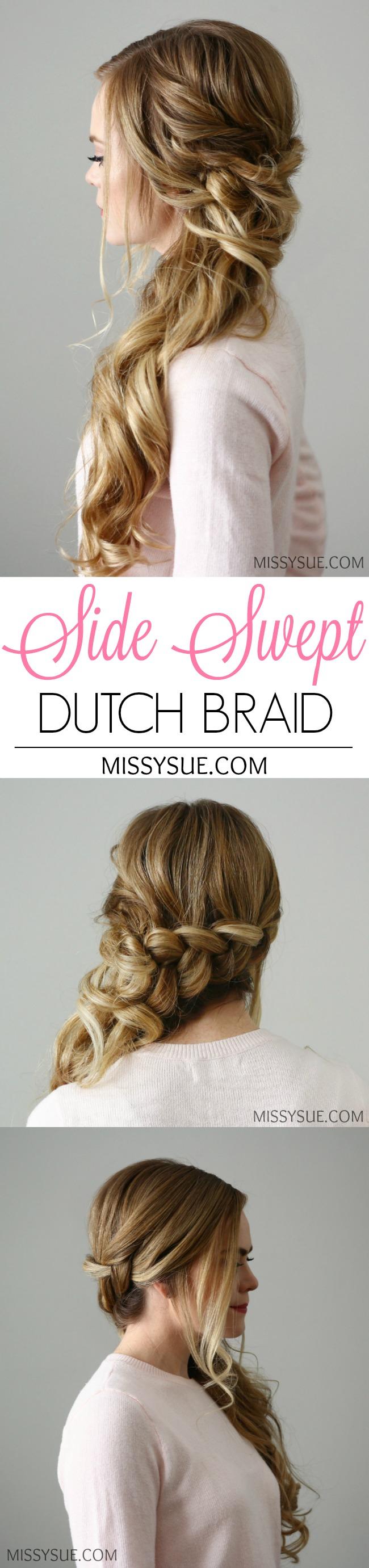 Side Swept Dutch Braid | Missy Sue