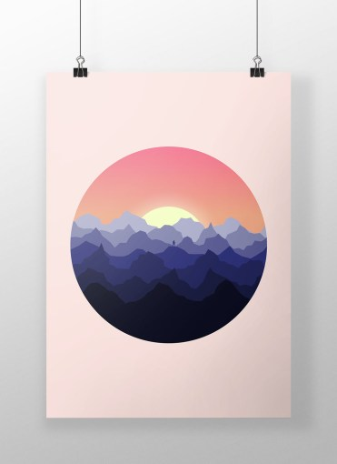 mountains poster mockup