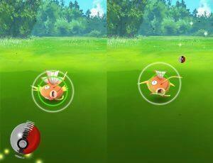 Capture d'un magikarpe en mettant de l'effet dans la Pokéball