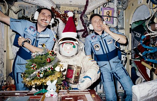 Christmas 1997 on the Mir Space Station, public domain