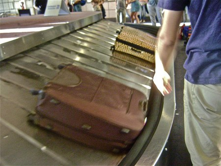 lugage on airport carousel