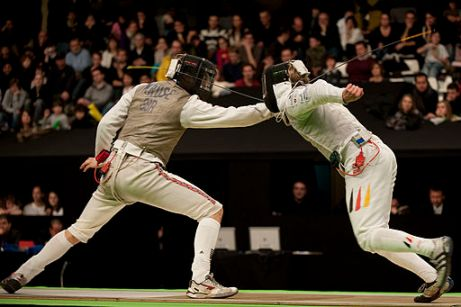 two men fencing