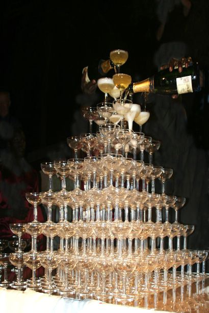 big tower of champagne glasses