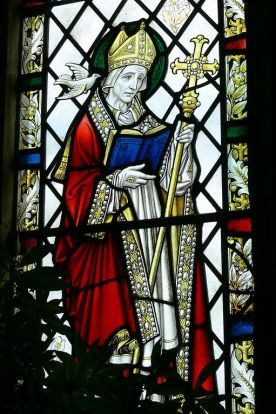 stained glass window of St. David of Wales