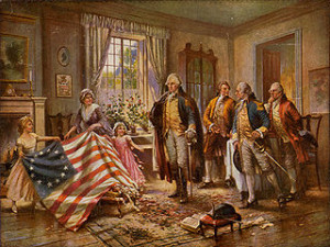 """The Birth of Old Glory,"" by Percy Moran. Image via wikimedia commons."