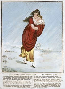 engraving of woman and baby in snowstorm