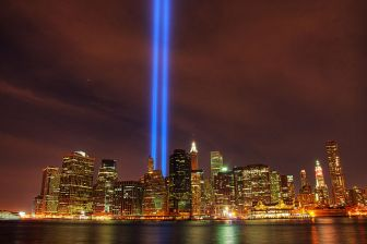 New York skyline with the beams of light memorializing the Twin Towers