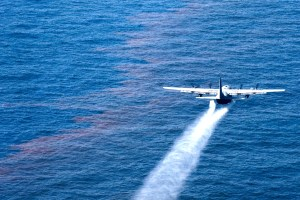 A C-130 Hercules from the Air Force Reserve Command's 910th Airlift Wing at Youngstown-Warren Air Reserve Station, Ohio, drops an oil-dispersing chemical into the Gulf of Mexico May 5, 2010, as part of the Deepwater Horizon Response effort. Members of the 910th Airlift Wing are in Mississippi to assist with response to the Deepwater Horizon oil spill. Airmen in the 910th AW specialize in aerial spray and it is the Department of Defense's only large-area, fixed-wing aerial spray unit. (U.S. Air Force photo/Tech. Sgt. Adrian Cadiz)