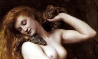 Lilith in sembianze umane con il serpente simbolo del demonio.