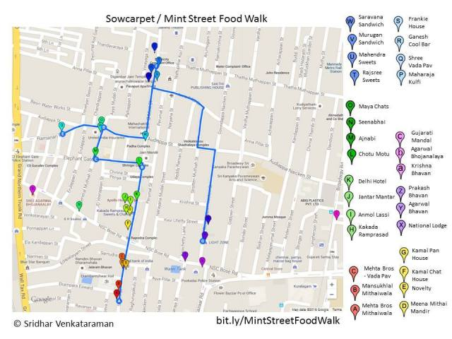 Sowcarpet Food Walk Map