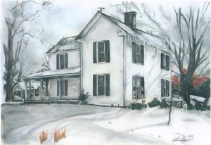Drawing of a farmhouse covered in snow