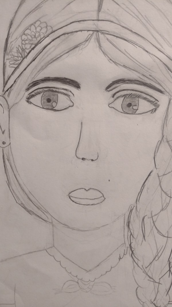 Girl's self portrait in graphite pencil