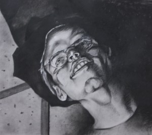 Charcoal drawing of Noel, drawn by Laura Newquist