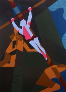 Abstracted painting of the raising of the cross