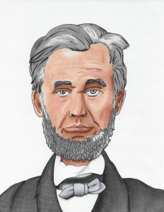 Marker drawing of Abraham Lincoln by Noel Newquist