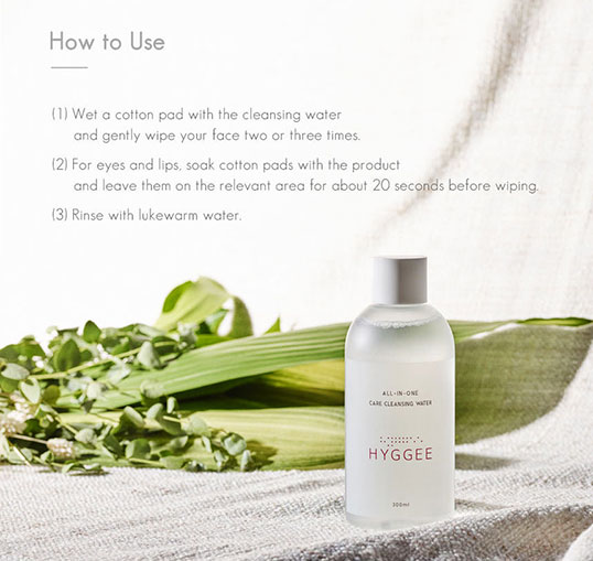 Hyggee All in One Care Cleansing Water Ingredients and how to use