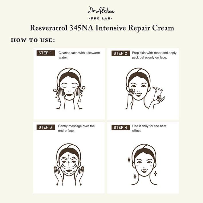 How to use Resveratrol 345NA Intensive Repair Cream
