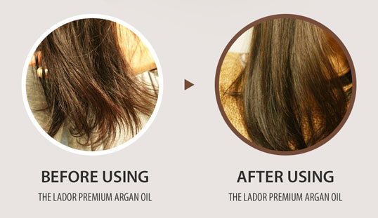 before and after using the premium argan oil
