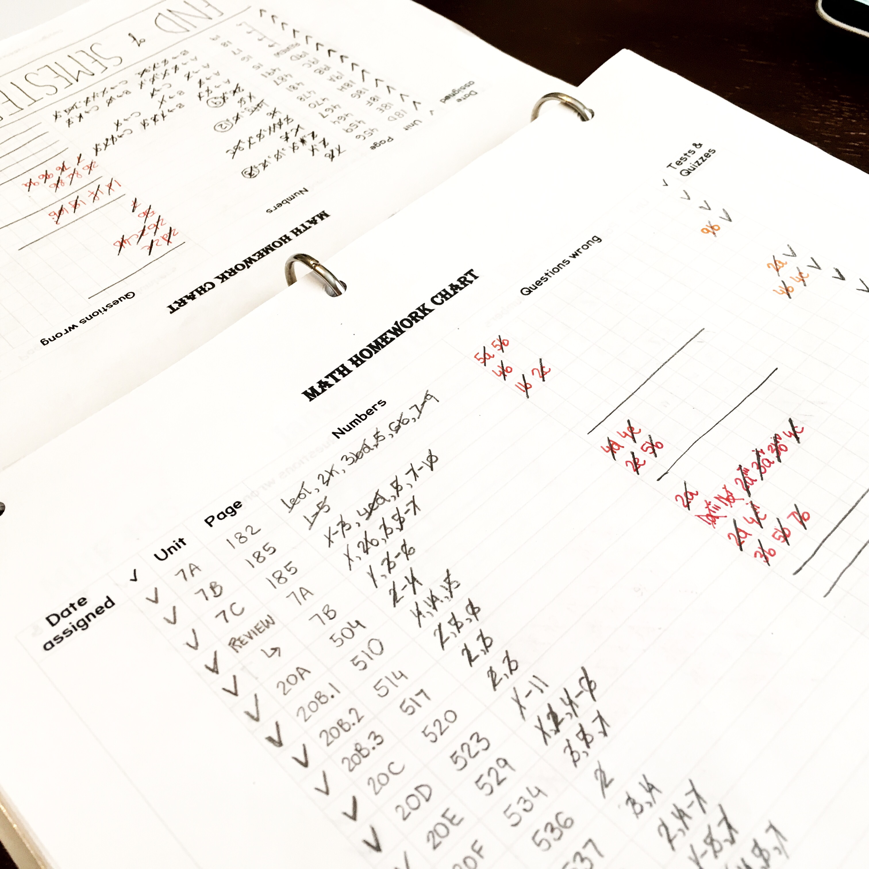 Math Homework Tracker Printable