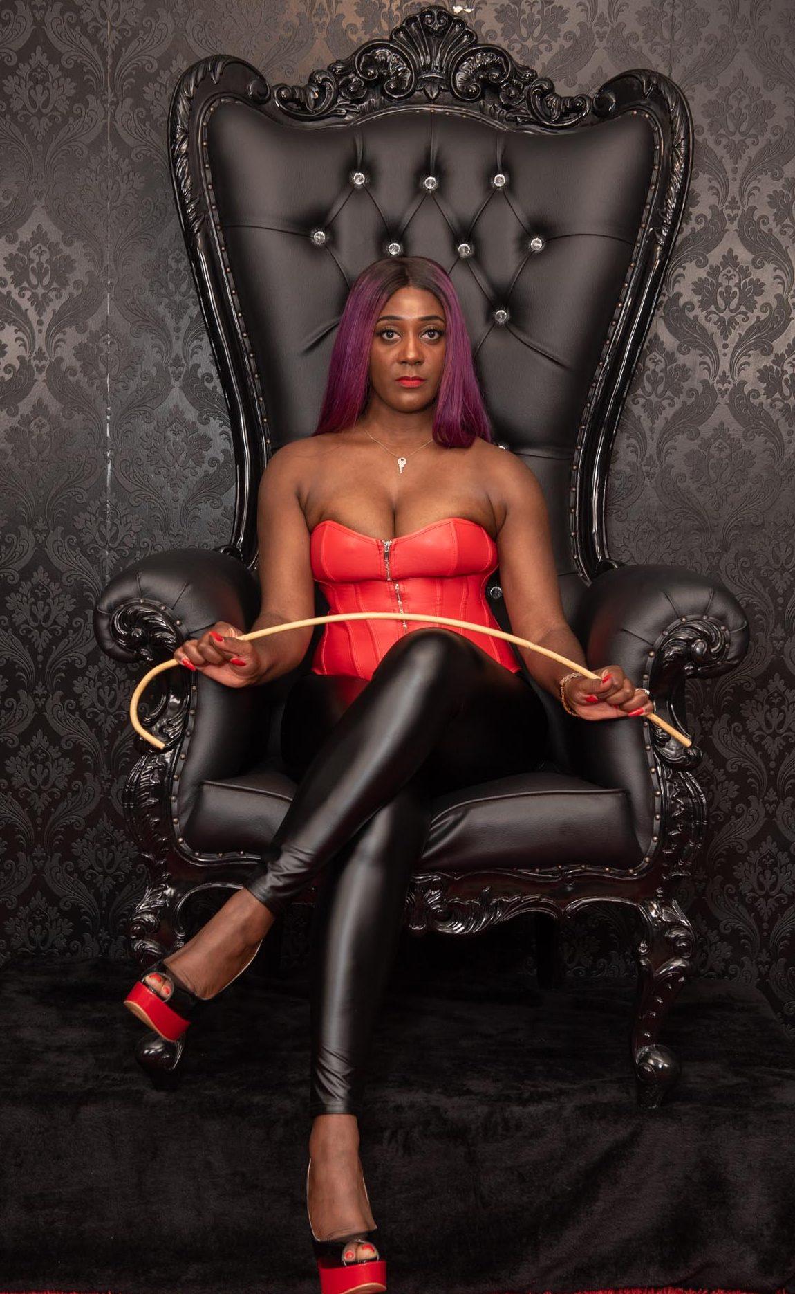 Mistress Lorraine with cane