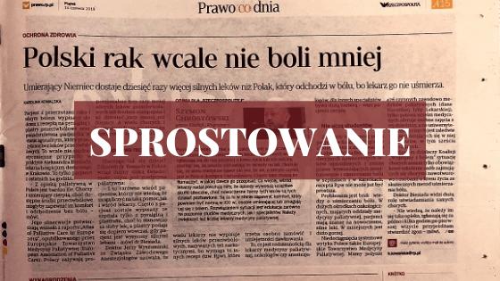 Sprostowanie do artykułu gazecie Rzeczpospolita z dnia 14.06.2019