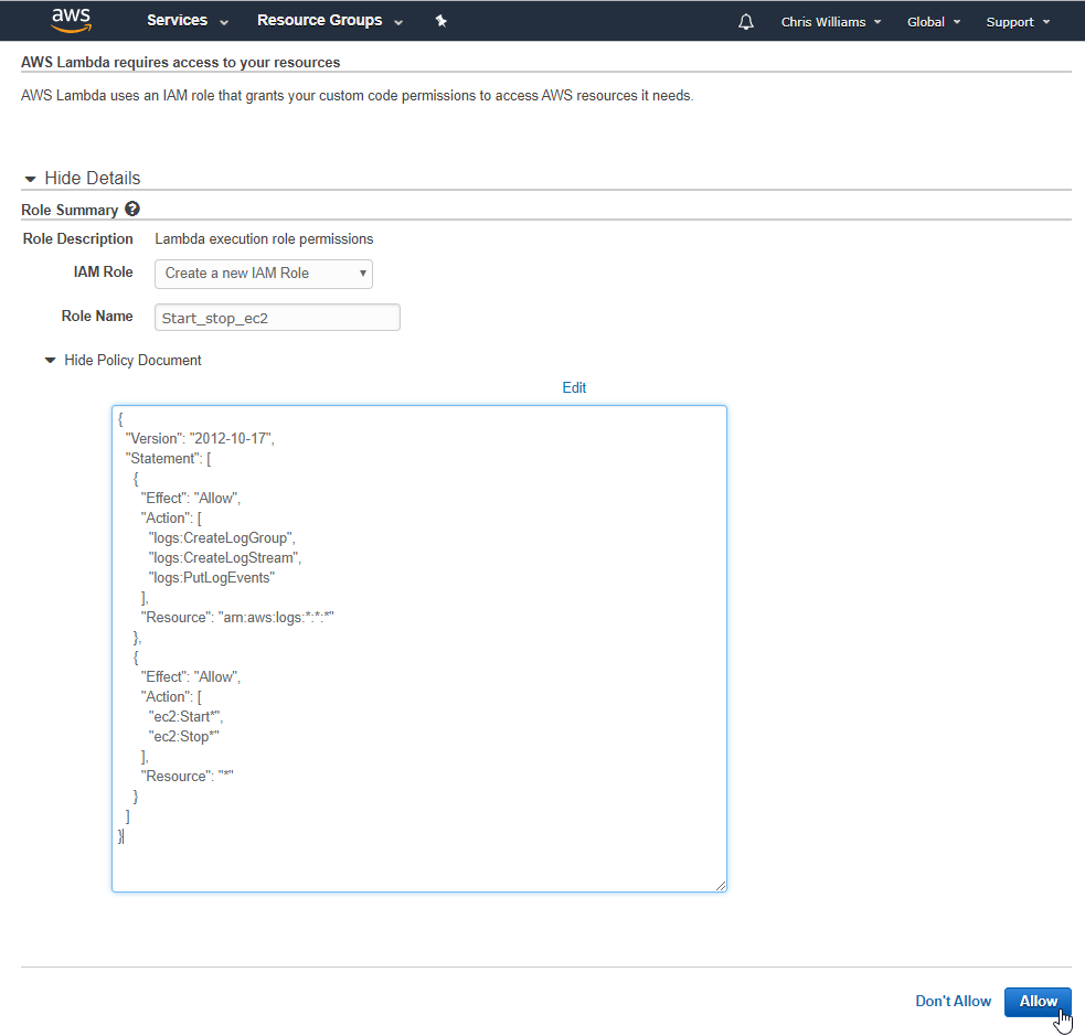 Use AWS Lambda to schedule instance starts/stops and save