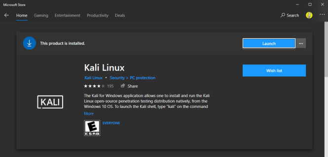 Kali Linux in MS Store