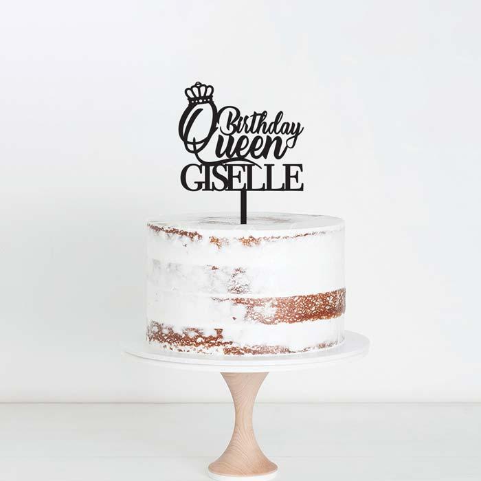 Birthday Queen Custom Name Cake Topper