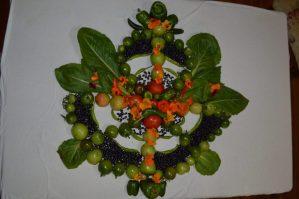 Vegetables arranged into a Mandala