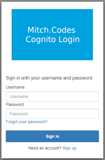 Cognito login page with inputs that have square edges