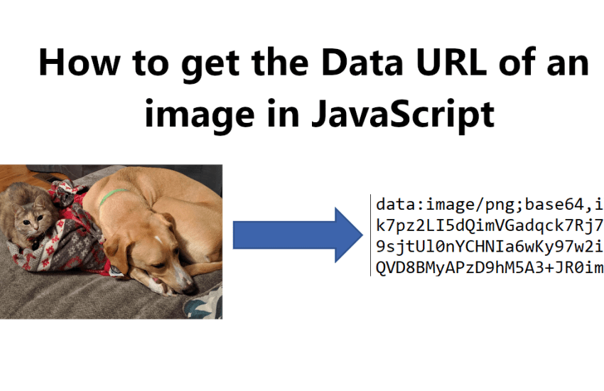 How to get the Data URL of an image in JavaScript (dog and cat picture, arrow to data url excerpt)