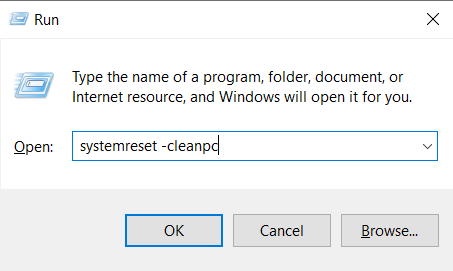 Windows run with command systemreset -cleanpc