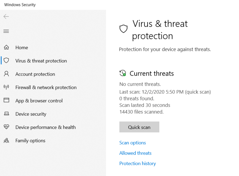 Virus & threat protection tab. Shows options for Quick scan, Scan options, Allowed threats, and Protection history