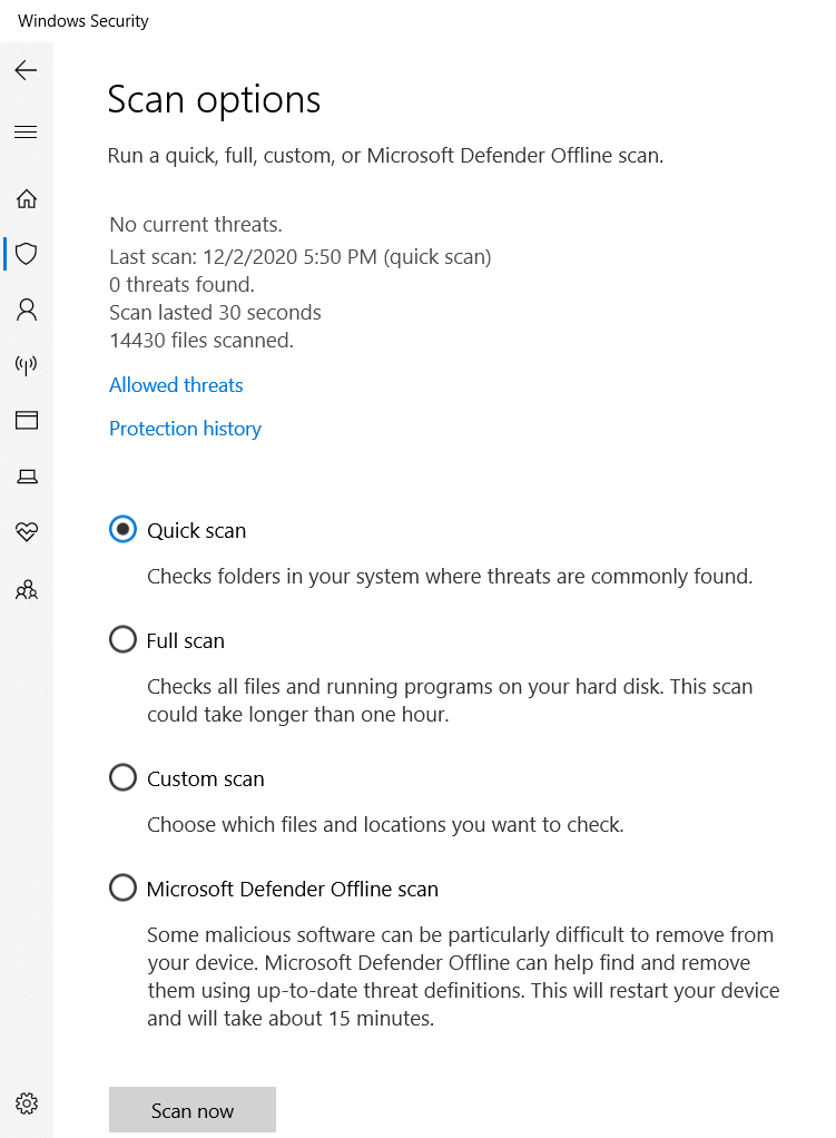 Scan options page to allow selection of a Full scan or Microsoft Defender Offline scan