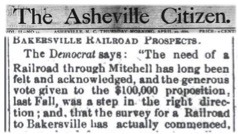 Newspaper article from the Asheville Citizen