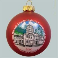 Photo of the 2019 Christmas Ornament of the Mitchell County Courthouse, red in color