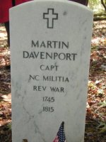 Photo of Martin Daveport's Tombstone