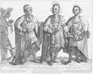 Woodcut image of members of the Cherokee tribe